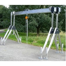 Stationary version with collapsible lateral stands, double beam, and integrated horizontal adjuster